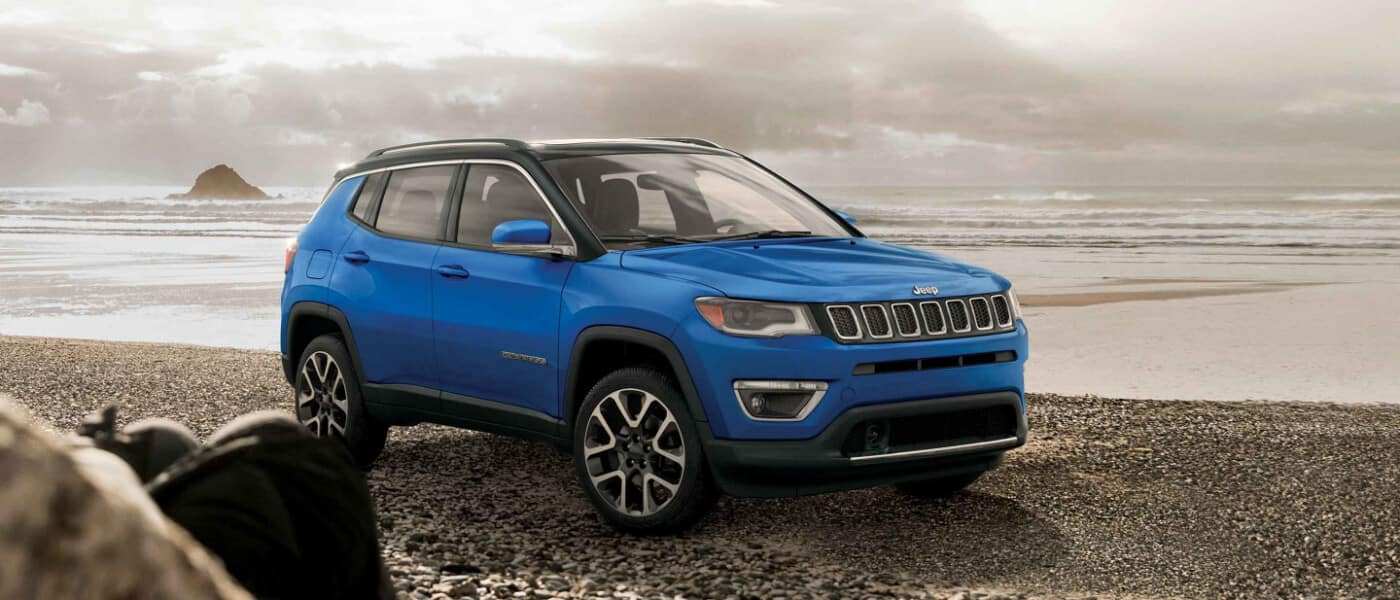 2019 Jeep Compass on foggy seaside beach
