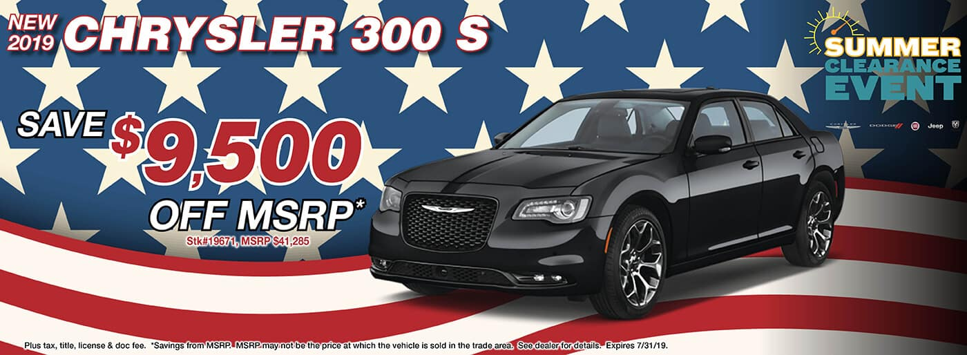 Save 9,500 Off MSRP on a 2019 Chrysler 300 S