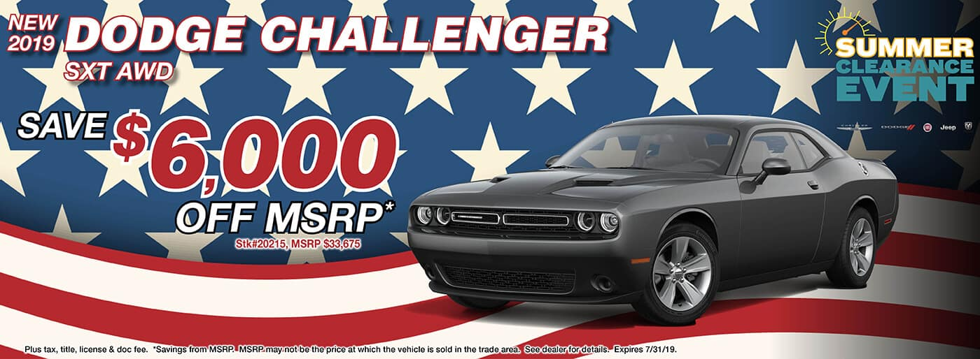 Save $6,000 off MSRP on a 2019 Dodge Challenger SXT