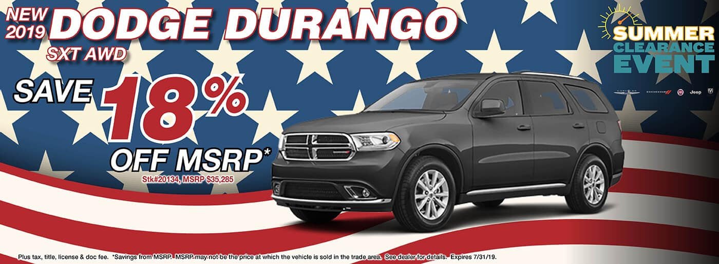 Save 18% off MSRP on a 2019 Dodge Durango SXT