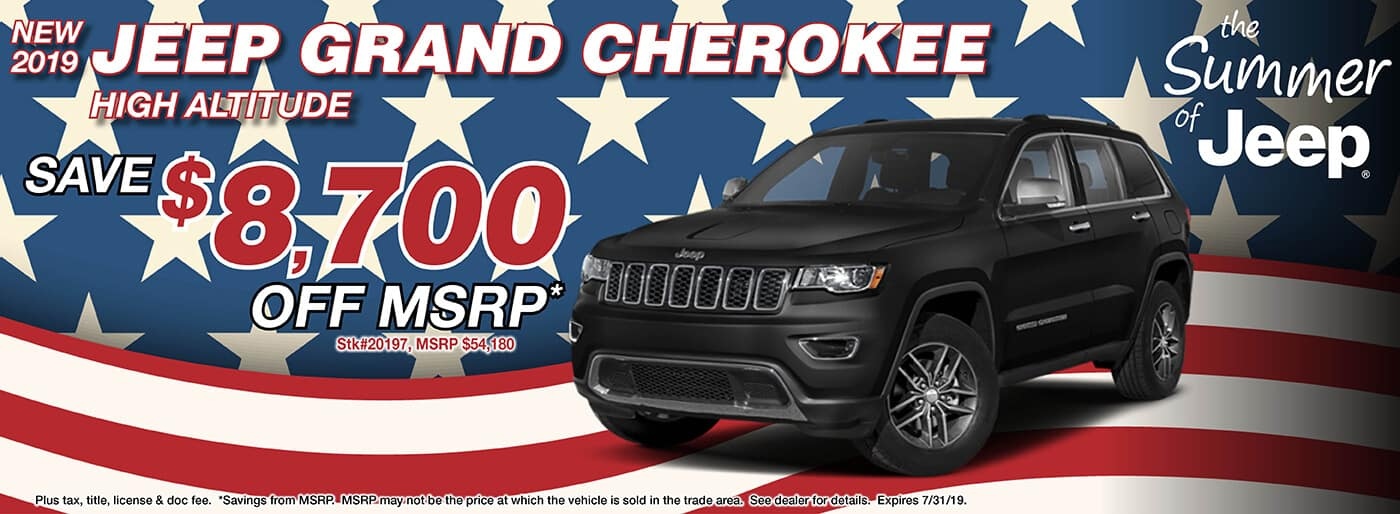 Save $8,700 Off MSRP on a 2019 Jeep Grand Cherokee