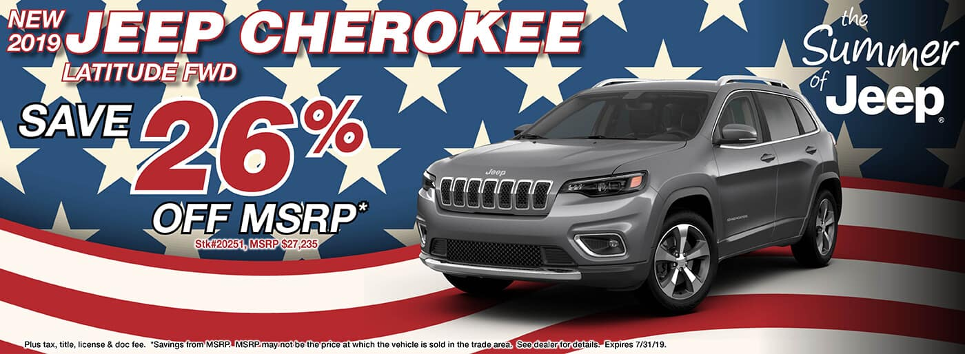 Save 26% off MSRP on a 2019 Jeep Cherokee