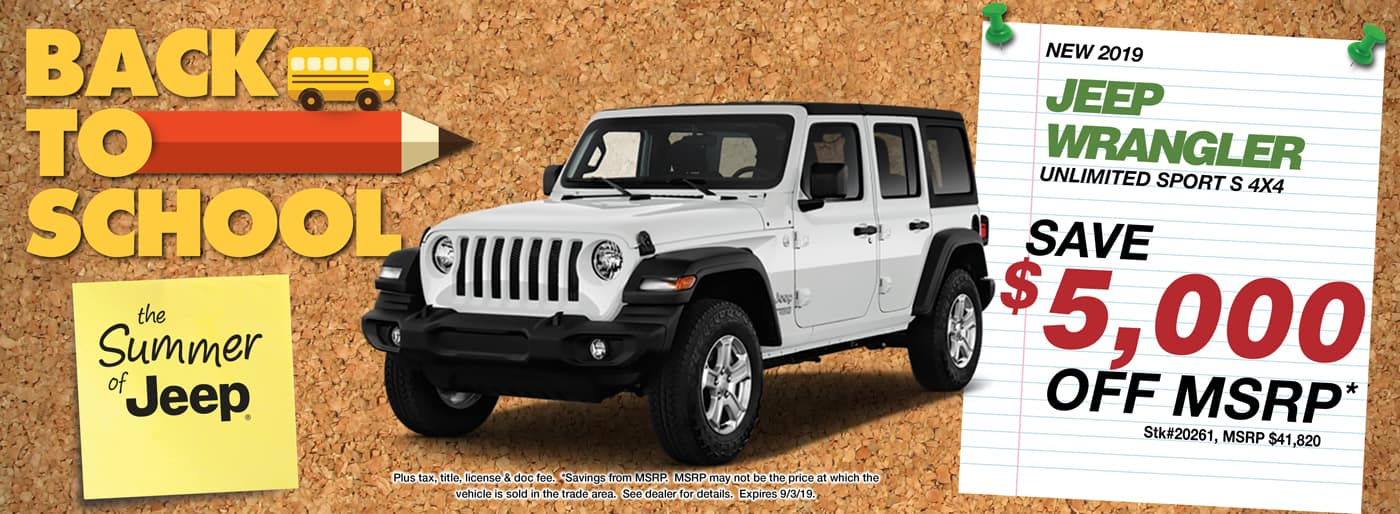 Save $6,000 off MSRP on a 2019 Jeep Wrangler Unlimited