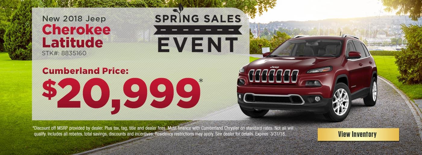 New 2018 Jeep Cherokee Latitude Cookeville TN