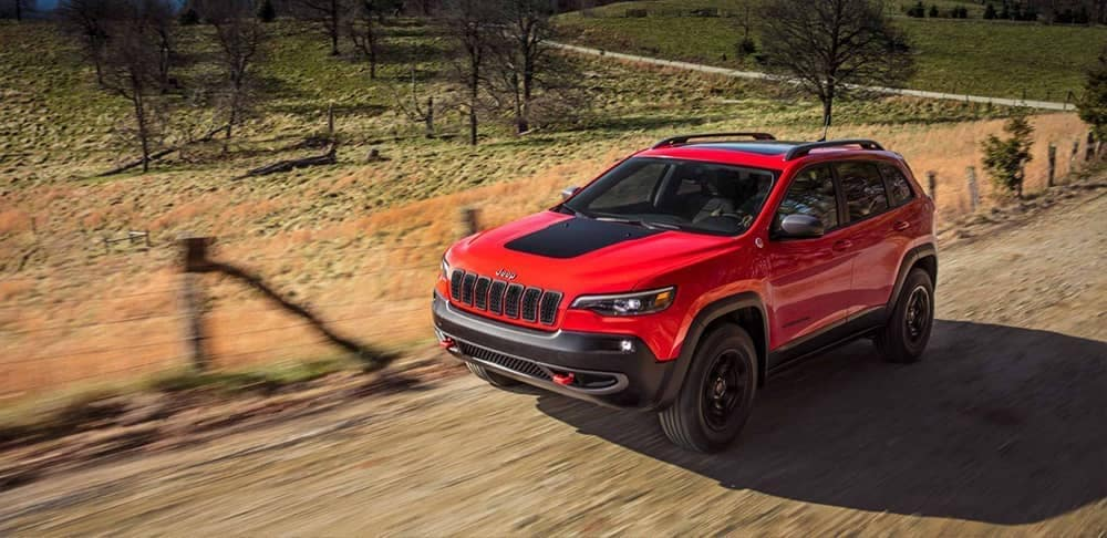 2019 Jeep Cherokee on a back dirt road