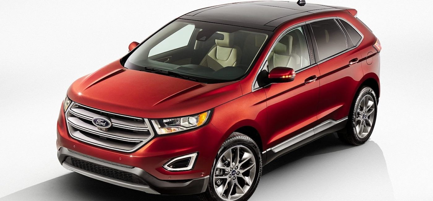 A red 2017 Ford Edge is shown angled left on a white background.