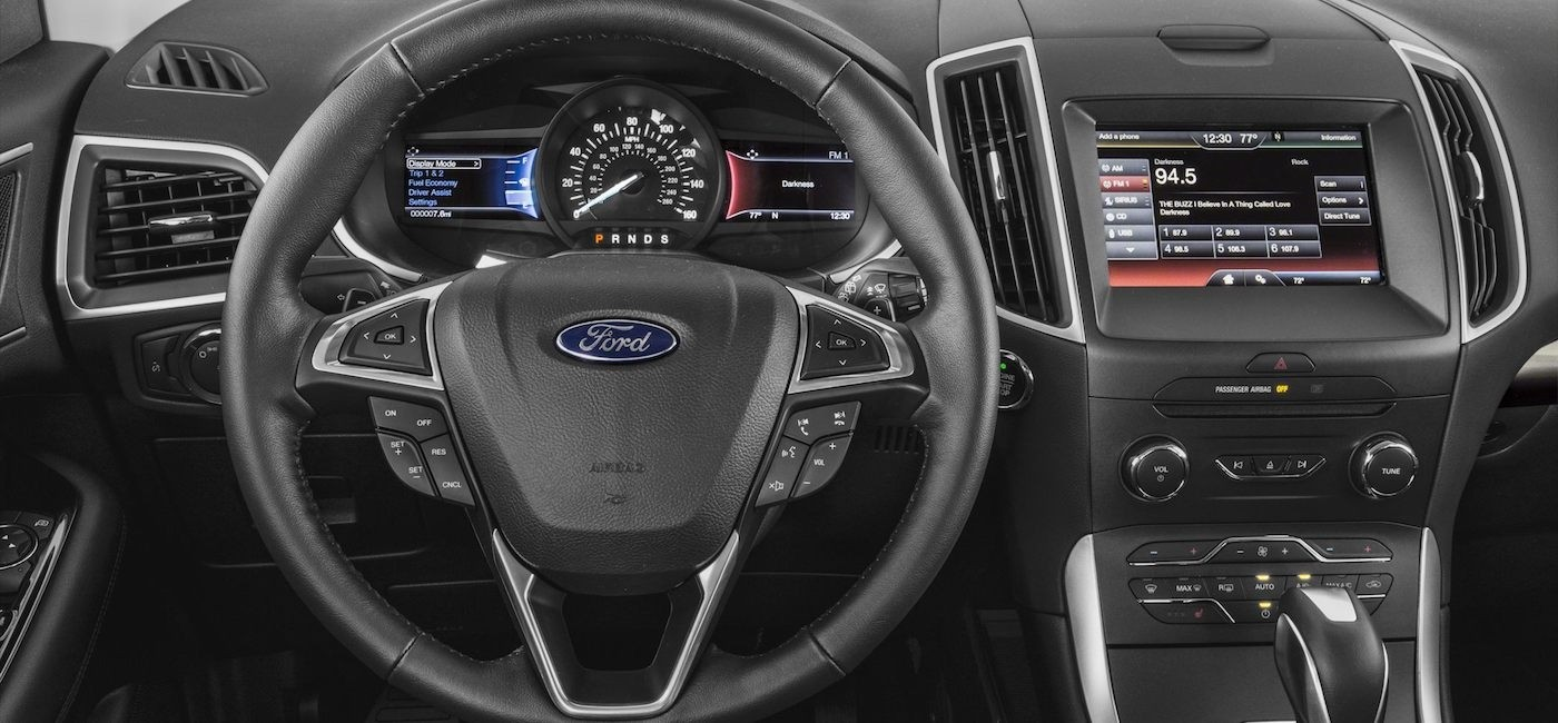 The dashboard on a 2017 Ford Edge is shown.