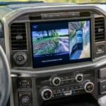 Infotainment screen and steering wheel inside the 2018 Ford F-150 pickup truck
