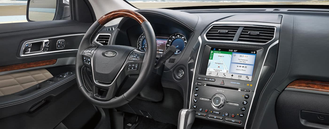 The dashboard and infotainment screen in a 2018 Ford Explorer are shown.