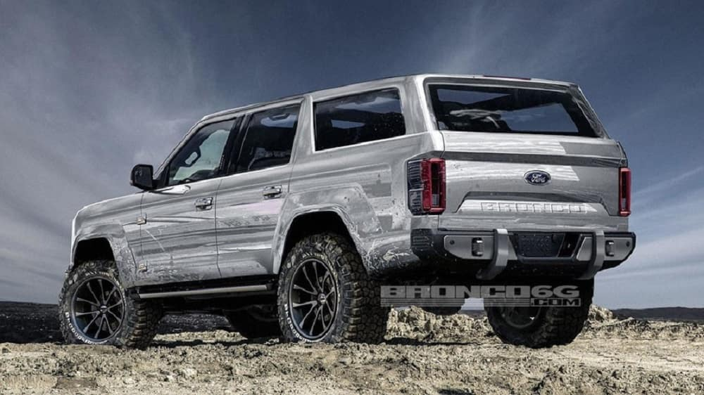 Design rendering showing what a silver 2020 Ford Bronco SUV could look like that is parked on a mountain top