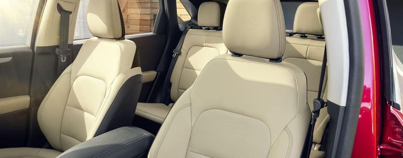 The cream interior of a 2020 Ford Escape is shown.