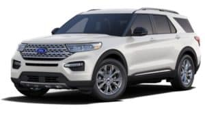 A white 2020 Ford Explorer is facing left.