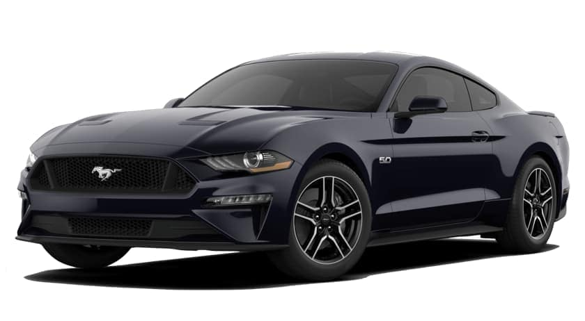 A black 2020 Ford Mustang is facing left.