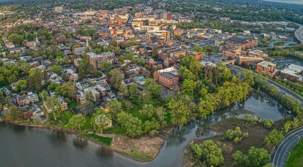 A bird's eye view of Schenectady, NY in the summer time.