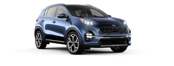 A blue 2020 Kia Sportage is facing right.