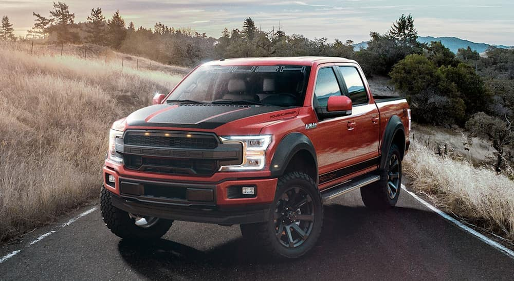 A red lifted 2019 Ford F-150 SC, a popular option at local car dealers, is parked next to a grassy field near Albany, NY.