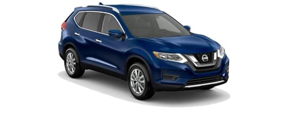 A blue 2020 Nissan Rogue is facing right.