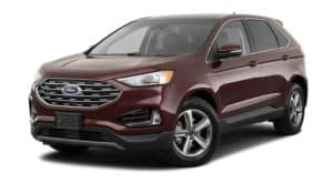 A burgundy 2020 Ford Edge is facing left.