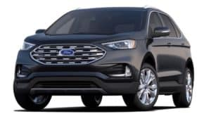 A black 2020 Ford Edge is facing left.
