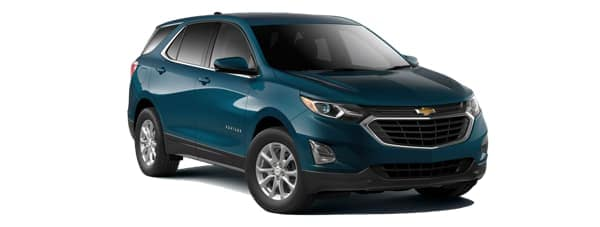 A blue 2020 Chevy Equinox is facing right.