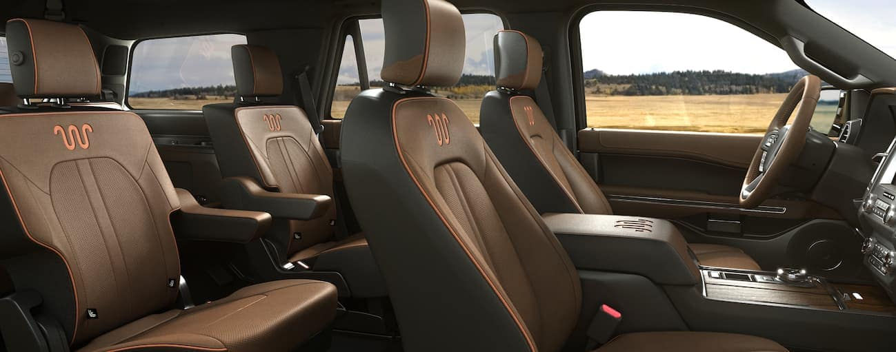 A side view of the black leather interior that can be found in a King Ranch Edition of the 2020 Ford Expedition.