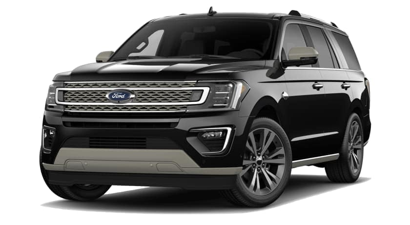 A black 2020 Ford Expedition is facing left.