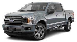A grey 2020 Ford F-150 is facing left.