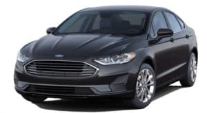 A black 2020 Ford Fusion is facing left.
