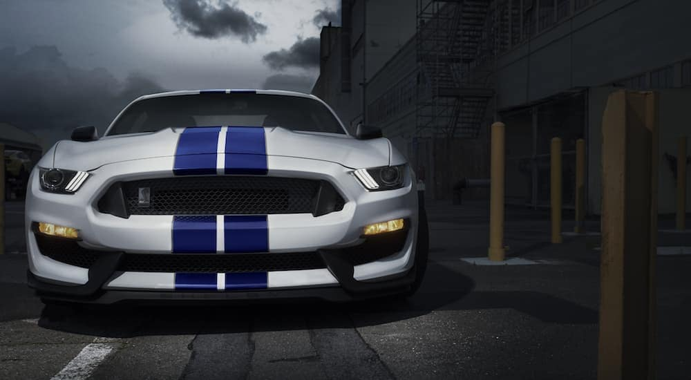 A white 2020 Ford Mustang GT350 is parked in a dark ally at night near Albany, NY.
