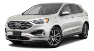 A white 2020 Ford Edge is facing left.