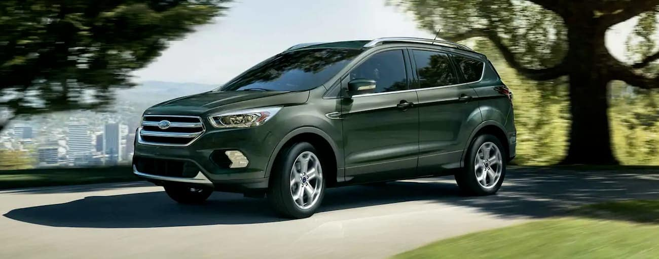 A green 2019 Ford Escape is driving through a city park.