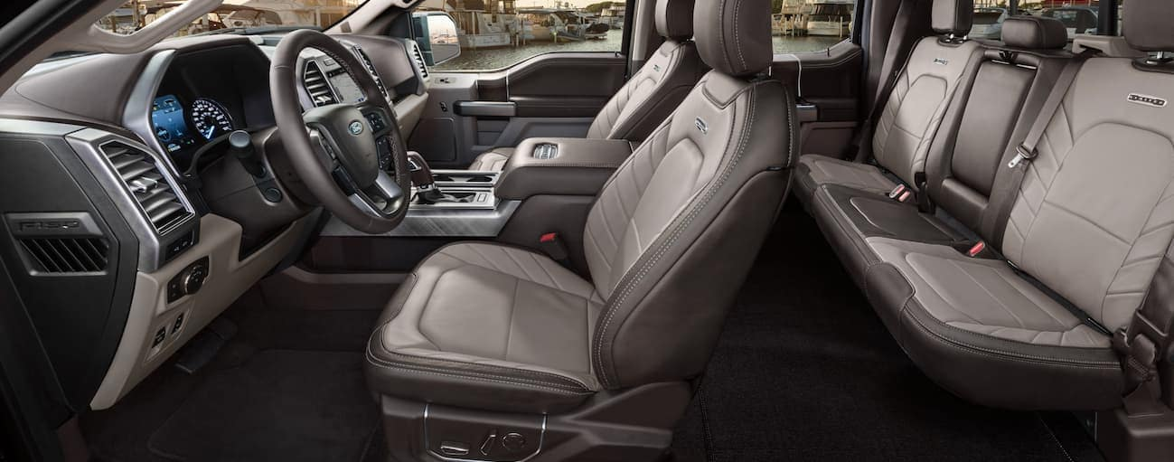 A side view of the grey leather interior found in a 2020 Ford F-150 Limited is shown,