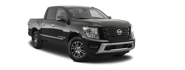 A black 2020 Nissan Titan is angled right.