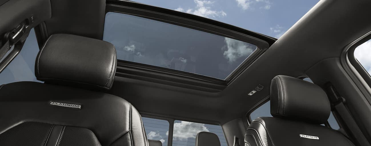 An inside view of the twin-panel moonroof of the 2020 Ford F-150 is shown.