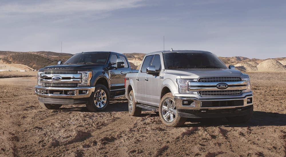 Two used Ford trucks are parked in the dirt.