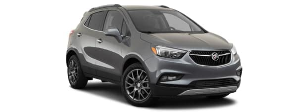 A grey 2020 Buick Encore is facing right.