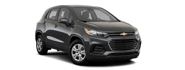 A black 2020 Chevy Trax is facing right.