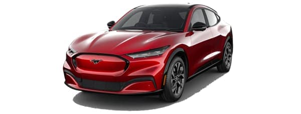 A red 2021 Ford Mustang Mach-E is angled left.
