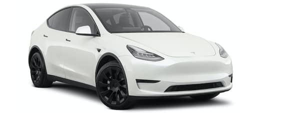 A white Tesla Model Y is angled right.