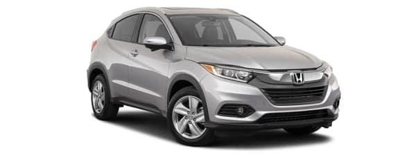 A silver 2020 Honda HR-V is facing right.