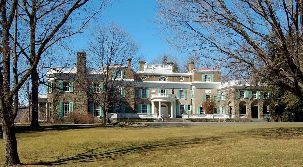 FDR's homesite in Hyde Park, NY, is shown on a sunny day.