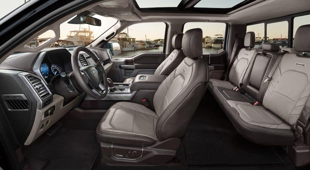 A side view of the 2020 Ford F-150 Limited's leather interior is shown.