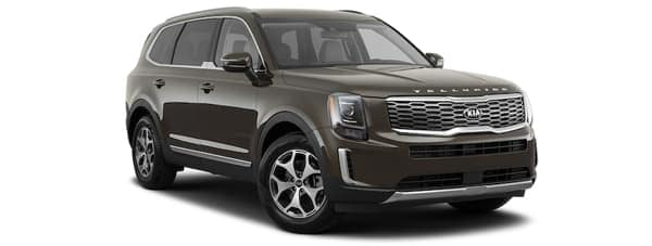 A brown 2020 Kia Telluride is parked on a white background.