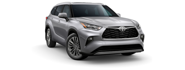 A silver 2020 Toyota Highlander is angled right on a white background.