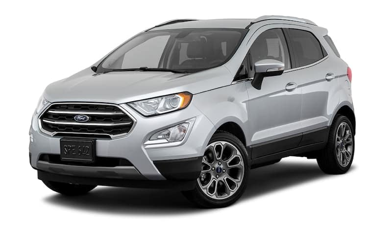 A silver 2020 Ford EcoSport is facing left.