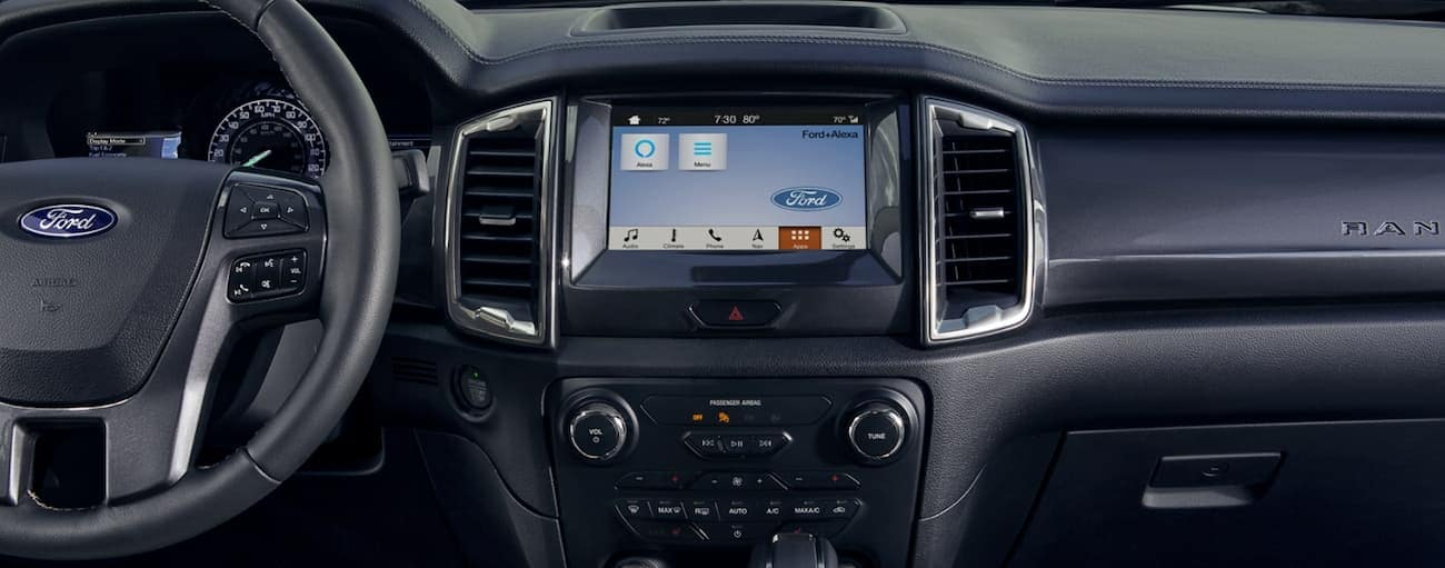 The infotainment screen in a 2020 Ford Ranger is shown.