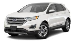 A white 2017 Ford Edge is facing left.
