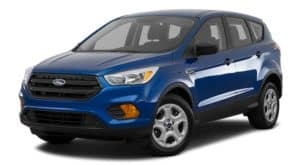 A blue 2017 Ford Escape is facing left.