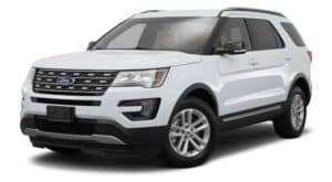 A white 2017 Ford Explorer is facing left.