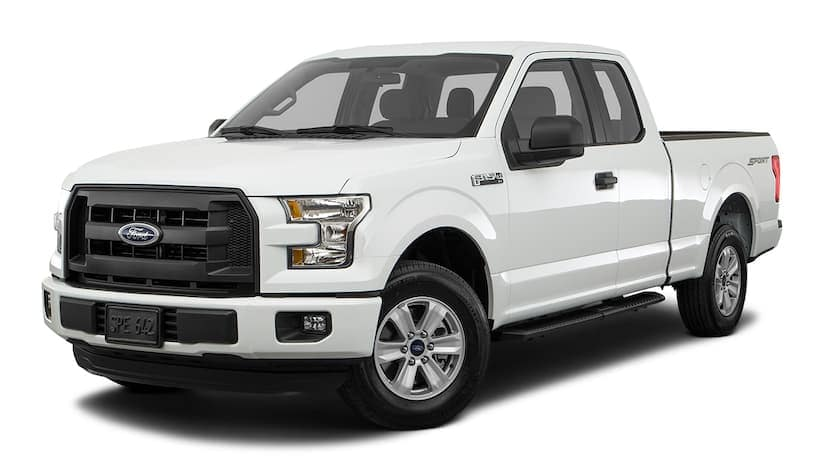 A white 2017 Ford F-150 is facing left.